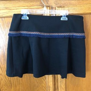Free People navy mini skirt with fringe